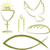 Heilige kerkgemeenschap - godsdienstige symbolen Royalty-vrije Stock Foto's
