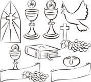 Heilige kerkgemeenschap - vectorsymbolen Royalty-vrije Stock Afbeeldingen