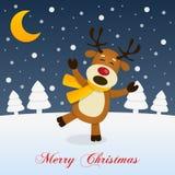 Heilige Kerstnacht met een Gelukkig Rendier royalty-vrije illustratie