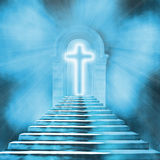 heilige kruis en trap die tot hemel of hel leiden Royalty-vrije Stock Foto's