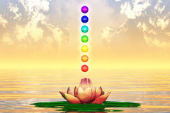 Heilige Lotus And Chakra Spheres Stockfoto