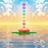 Heilige Lotus And Chakras Royalty-vrije Stock Afbeelding