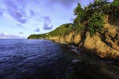 Heilige Lucia Coastline bij Zonsondergang Stock Afbeeldingen