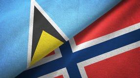 Heilige Lucia en Noorwegen twee vlaggen textieldoek, stoffentextuur royalty-vrije illustratie