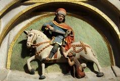 Heilige Martin snijdt zijn mantel voor een bedelaar Royalty-vrije Stock Afbeelding