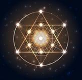 Heilige Meetkunde Abstracte geometrische vormen op een donkerblauwe gloeiende achtergrond Royalty-vrije Stock Foto