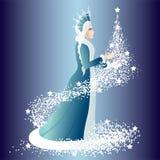 Heilige Nacht das Schnee-Mädchen mit einem Tannenbaum lizenzfreie abbildung