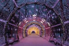 Heilige Nacht Moskau Der helle Tunnel auf Tverskoy-Boulevard Lizenzfreie Stockbilder