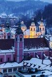 Heilige Nicholas Cathedral en Franciscan Kerk Royalty-vrije Stock Foto's