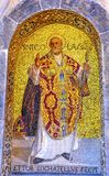 Heilige Nicholas Mosaic Saint Mark & x27; s Kerk Venetië Italië Stock Foto