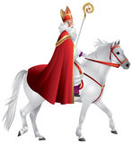 Heilige Nikolaus, Sinterklaas on the white horse. Winter holiday figure based on Saint Nicholas, Bishop of Myra, model for Santa Claus, celebrated with the Stock Images