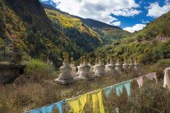 Heilige Pagoden im tibetanischen Tempel mit buntem Wald auf Berg Lizenzfreie Stockfotos