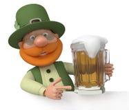 Heilige Patrick met een aanplakbord en een bier Stock Foto
