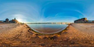 Heilige-Petersburg - 2018: Mening van Neva van Peter en Paul Fortress Witte nachten 3D sferisch panorama met 360 het bekijken a Stock Fotografie