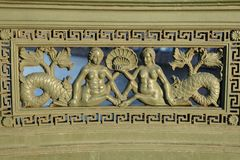 Heilige Petersburg, Rusland Een fragment van de omheining van Anichkov-brug met de meerminnen Stock Afbeelding