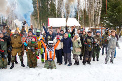 Heilige-Petersburg, Rusland - Februari 21, 2016: Het grote jaarlijkse spel 'Dag M' van het paintballscenario in Snaker-club Royalty-vrije Stock Afbeelding