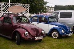 Heilige Petersburg, Rusland - Juli 08, 2017: Festival van oude Volkswagen-auto Bughouse Fest 2017 Verscheidene Volskwagen-kever i Stock Foto's