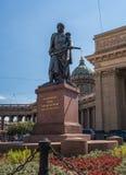Heilige Petersburg, Rusland - Juni 17, 2017: Monument aan Barclay de Tolly voor Kazan Kathedraal Royalty-vrije Stock Afbeelding