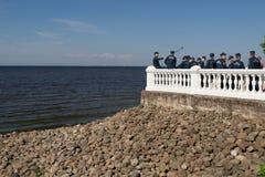 Heilige-Petersburg, Rusland - Juni 02, 2016: selfie op de achtergrond van de Oostzee Stock Fotografie