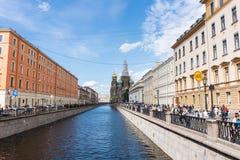 Heilige Petersburg, Rusland - Juni, 22,2018: Vernieuw Kerk van de Verlosser op Gemorst Bloed stock foto