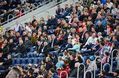 HEILIGE PETERSBURG, RUSLAND - Maart 27, 2018: De ventilators van voetbalrusland Royalty-vrije Stock Fotografie