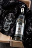 Heilige-Petersburg, Rusland 19 maart, van de de Flessenwodka van 2017 van de Beloeganobel de Russische Wodka Royalty-vrije Stock Foto's