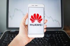HEILIGE PETERSBURG, RUSLAND - MEI 27, 2019: Huaweieffecten Analytics, concept stock foto