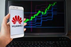 HEILIGE PETERSBURG, RUSLAND - MEI 27, 2019: Huaweieffecten Analytics, concept stock foto's