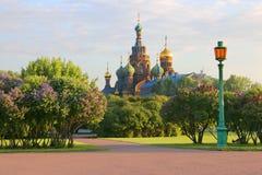Heilige-Petersburg Rusland Mening van orthodoxe Kerk van de Verlosser op Bloed Royalty-vrije Stock Afbeeldingen