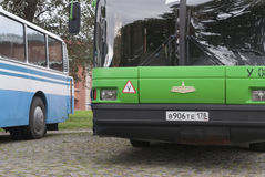 Heilige Petersburg, Rusland 17 September, 2016: Status bij de bushaltebussen Royalty-vrije Stock Afbeelding