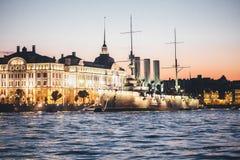 Heilige-Petersburg Stad Aurora Ship Stock Afbeelding