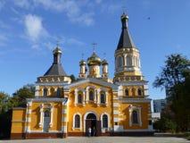 Heilige Pokrovsky-Kathedraal in Kiev stock foto