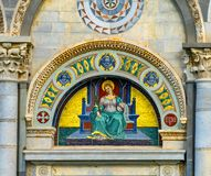 Heilige Reparata Christian Martyr Mosaic Facade Cathedral Pisa Ita stock foto's