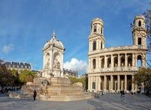 Heilige Sulpice Cathedral in de Stad van Parijs Frankrijk stock foto's
