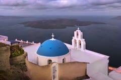 Heilige Theodore Church in de Ochtend, Fira, Santorini, Griekenland Royalty-vrije Stock Afbeelding