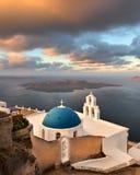 Heilige Theodore Church in de Ochtend, Fira, Santorini, Griekenland Stock Afbeelding