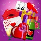 Heilige Valentine Icons Background Royalty-vrije Stock Afbeelding