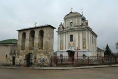 Heilige Veronderstellingskerk, 1755, vroeger Trynitarskyy-kerk-klooster in Zbarazh-stad, Ternopil oblast of binnen gevestigde pro royalty-vrije stock foto's