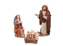 Heilige voederbak Mary, Joseph en baby Jesus Stock Afbeeldingen