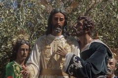 Heilige Week in Sevilla, Judas Kiss royalty-vrije stock afbeeldingen