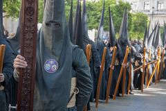 Heilige Week in Sevilla Nazarenes Stock Foto's