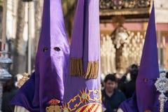 Heilige Week in Sevilla Nazarenes Stock Fotografie