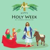 Heilige weekgoede vrijdag, kruisiging van Jesus en zijn dood, Posten van Kruis, Godshartstocht, Pasen-Triduum vector royalty-vrije illustratie