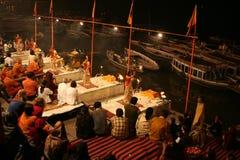 Heilige Zeremonie in Varanasi Lizenzfreies Stockbild