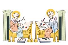 Heiligen Cyril en Methodius manuscripten De eerste printer Royalty-vrije Stock Foto's