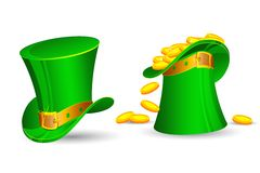 Heiligen Patricks Hut gefüllt mit Goldmünzen stock abbildung