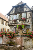 Heiligenstein (Alsace) - Fountain with flowers Royalty Free Stock Images