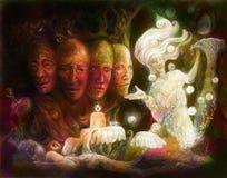 Heiliger Baum der Angelegenheiten von vier Gesichtern, bunte Malereicollage der Fantasie vektor abbildung