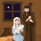 Heiliger Familienvordergrund WeihnachtsGeburt Christiszene Geburt von Christus lizenzfreie abbildung