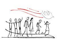 Heiliger Geist Symbol und Leute, die es folgen vektor abbildung